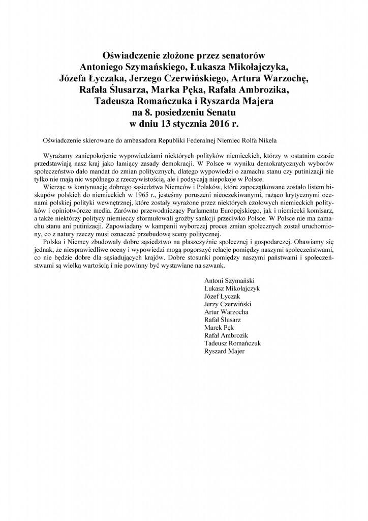 Oświadczenie senatorów skierowane do ambasadora Niemiec